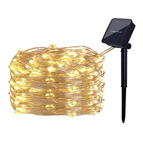 YOQXHY Solar String Lights 33FT 100 Micro LED Fairy Copper Wire Lights Solar Powered 8 Modes for Outdoor Patio Garden Gate Yard Party Wedding Christmas Decor,Warm White 1-Pack
