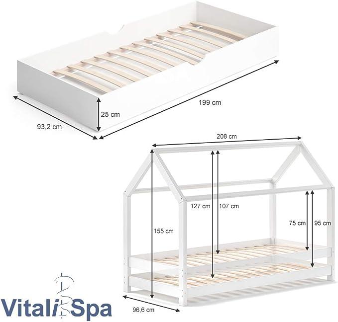 VitaliSpa Wiki - Cama infantil (90 x 200 cm, incluye 2 colchones), color blanco