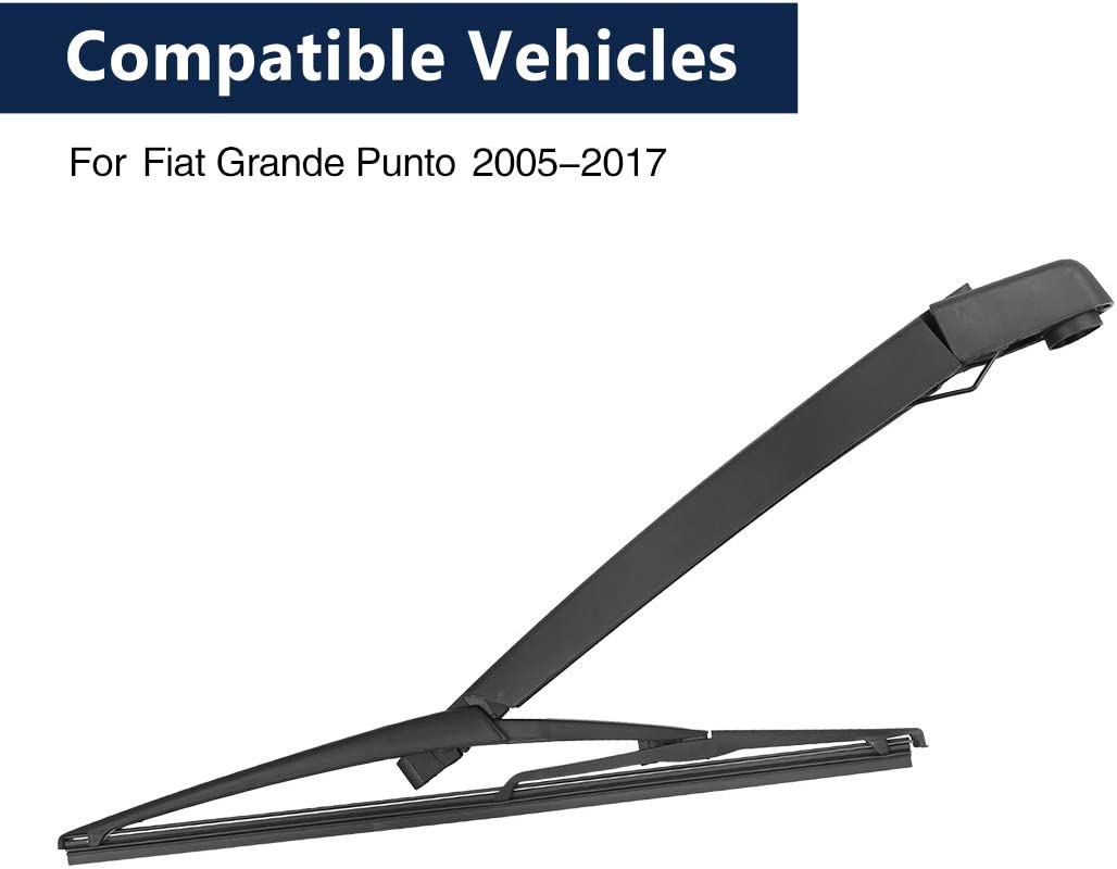 X AUTOHAUX Rear Windshield Wiper Blade Arm Set 305mm 12 Inch for Fiat Grande Punto 2005 2006 2007 2008 2009 2010 2011 2012 2013 2014 2015 2016 2017