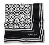 Women's Coach Signature Print 21x21 Neck Scarf Black and White