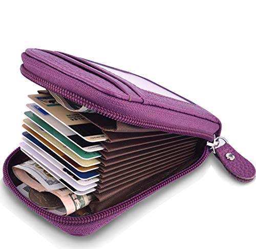 MaxGear Small Credit Card Wallet Genuine Leather Credit Card Holder RFID Credit Card Case for Women Credit Card Purse Organizer Ladies Security Wallets with ID Window Purple ()