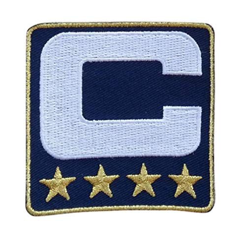 (Navy Blue w/ 4 Gold Stars Captain C Patch Iron On for Football Jersey (Seattle))