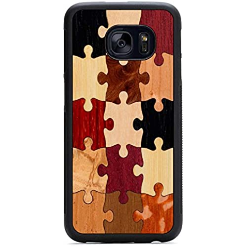 Carved Random Puzzle Samsung Galaxy S7 edge Traveler Wood Case - Black Protective Bumper with Real All Wooden Sales