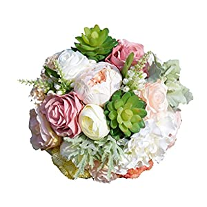 OULII Wedding Bouquet Silk Bridesmaid Bouquet Succulent Bridal Bouquet Artificial Flowers Wedding Valentine's Day Decoration 60