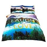 Childrens/Kids Live Laugh Love Duvet Cover Bedding Set (Full) (Multicolored)