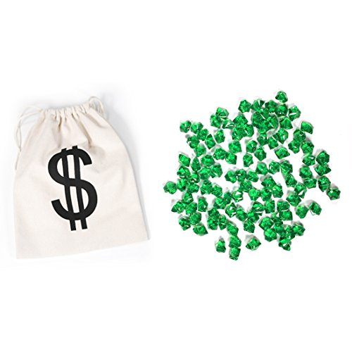 PAUBOLI Acrylic Fake Gems 1.2lbs (200pcs) + $ Money Bag a Set Vase Fillers Wedding Party Decorations Pretend Pirate Treasure Jewels (Emerald)