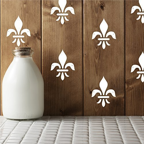 Fleur De Lis Wall Decor - Royalty Flower Themed Vinyl Decals for Decorating Home, Living Room, Bedroom, Conference Room, Event ()