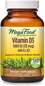 MegaFood, Vitamin D3 5000 IU, Immune and Bone Health Support, Dietary Supplement, 120 Tablets