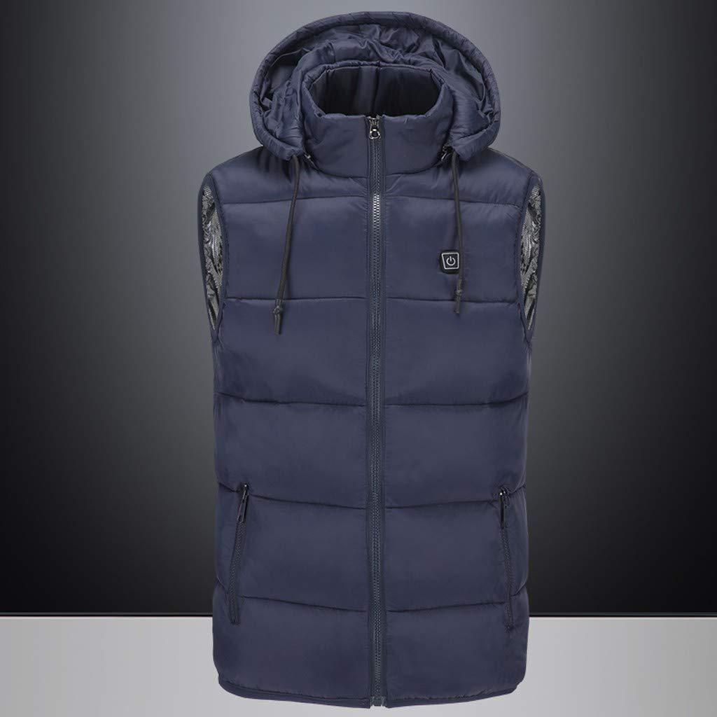 SNOWSONG Mens Lightweight Heated Vest Down Jacket Zip Up Drawstring Hooded Sleeveless Vest