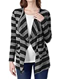 Regna X Boho for Womens Striped Knit Knitted Casual Black Medium Stripe Open Front Cardigans with Pockets