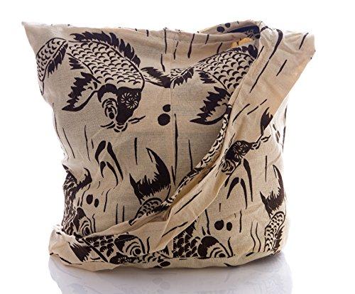 Purse Bohemian Carp Hippie Cotton Avarada Sling Hobo Bag Messenger Beige Crossbody Thai Fancy Pz6qEwx8