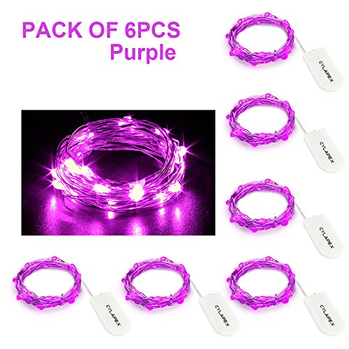 CYLAPEX 6 Pack Purple Fairy Lights Battery Operated String Lights Firefly Lights Micro Moon LED Starry String Lights on 7.2ft/2m Silvery Copper Wire for DIY Christmas Decoration Costume Wedding (Costume Party For Christmas)