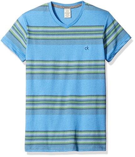 Calvin Klein Big Boys' Explosive V-Neck Tee Shirt, Light Royal, L14/16 by Calvin Klein
