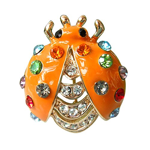 Gold Plated Colorful Crystal (Navachi 18k Gold Plated Colorful Crystal Yellow Enamel Bug Az7066b Brooch Pin)