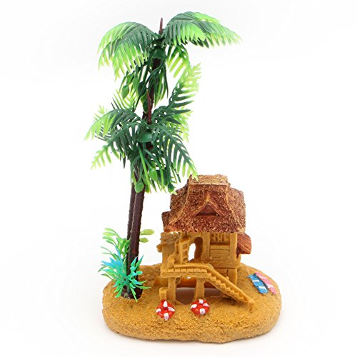 Delight eShop Simulation Coconut Tree Castle Aquariums Ornaments Fish Tank Decor Landscape New (Tree Sponge)