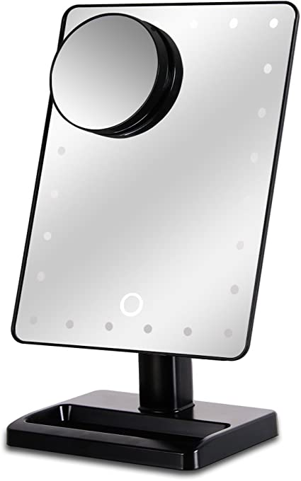 Waneway 12-Inch Screen Makeup Mirror with 24 LED Lights, Lighted Vanity Dressing Table Mirror with Touch Dimmable Memory Function and 10x Magnification Spot Mirror, Black (Battery Not Included)