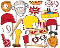 Baseball Photo Booth Props Kit - 20 Pack Party Camera Props Fully Assembled