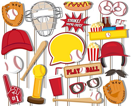 Birthday Galore Baseball Photo Booth Props Kit - 20 Pack Party Camera Props Fully Assembled]()