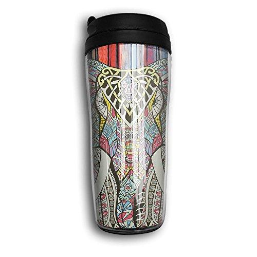 Travel Coffee Mug, Bohemian Elephant Portable Insulated Organic Coffee Mug Coffee Tumbler For Women Men Fathers Day Gifts