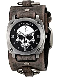 Nemesis Mens 926FRB Heavy Duty Skull Series Analog Display Japanese Quartz Grey Watch