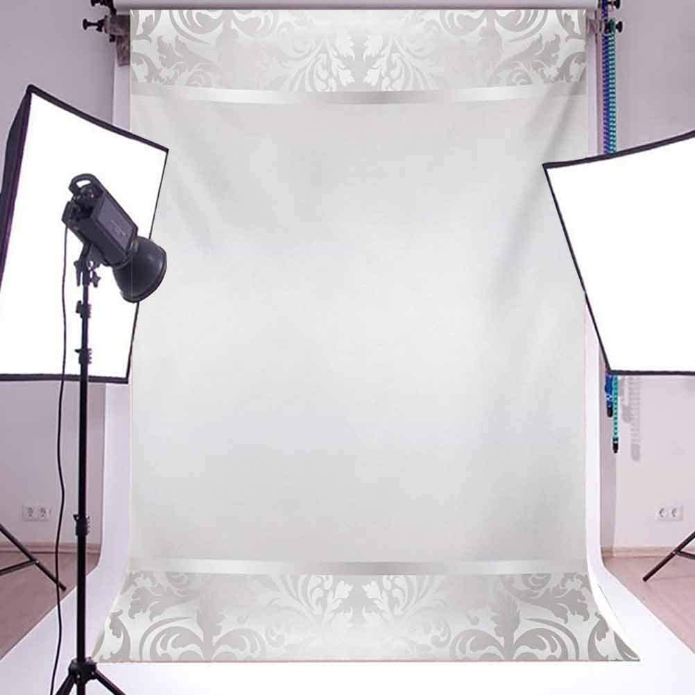 Grey 10x12 FT Photography Backdrop Rococo Style Framework Ornaments Old Fashioned Antique Design Retro Borders Background for Baby Shower Birthday Wedding Bridal Shower Party Decoration Photo Studio