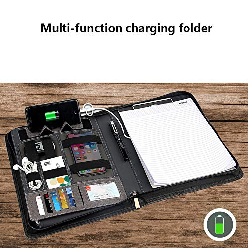 RENYAYA Power Bank Notebook Multi Functional Notebook with 8000 mAh Power Bank Charging Note Book Binder Diary Book Zipper Bag