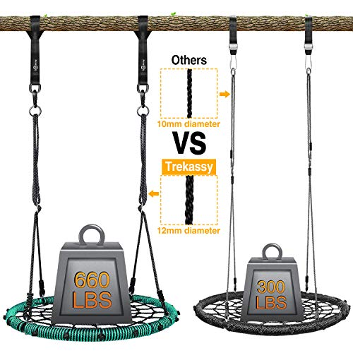 Trekassy 660 lb Spider Web Swing 40 inch for Tree Kids with Steel Frame and 2 Hanging Straps
