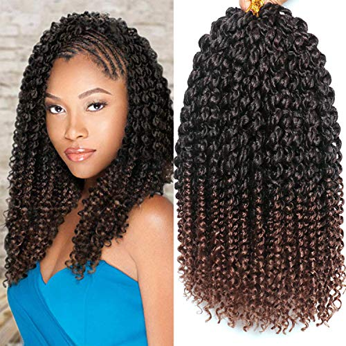 5 Packs 14 Inches Senegalese Spring Twist Crochet Braids with Curly Ends Synthetic Hair Extension Small Havana Mambo Twist Hair (T1B/30#)