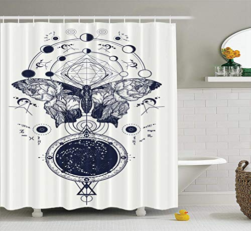 LILYMUA Moon Fabric Bathroom Shower Curtain, Butterfly Tattoo Geometrical Style Wings and Roses Symbol with Bath Curtain Hooks Polyester Shower Curtain Waterproof Bathroom Decor 72x78 Inch