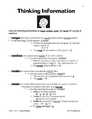Counting Number worksheets maths worksheets for grade 4 : Thinking - Range, Mean, Median, Mode Worksheets - 3rd, 4th, 5th ...
