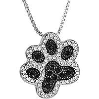 supaen Footprint Silver Dog Paw Crystal Rhinestone Pendant Jewelry Necklace Box Chain