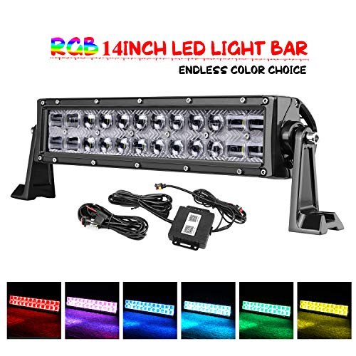RGB LED Light Bar, OFFROADTOWN 14'' 72W LED Light Bar with Wiring Harness Multicolor Cree Led Work Light 5D Off Road Color Changing Driving Lights Flood Spot Combo Beam Light Bluetooth Control for Tru