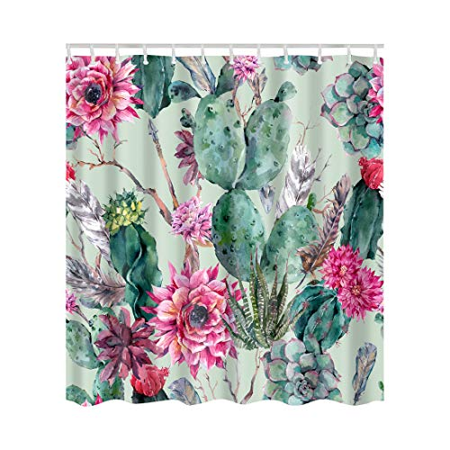 (Artown Cactus Flowers Shower Curtain, Exotic Boho Style Desert Green Plants Spring Garden Theme Modern Floral Seamless Digital Print, Durable Fabric Bathroom Decor Set with 12 Hooks, 72 Inches Long)