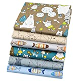 """6 Pcs Bears and Fishes Multi Color 100% Cotton Print Fabric Fat Quarter Bundle 46cm x 56cm ( Approx 18"""" x 22"""") Patchwork Sewing Quilting Fabric"""