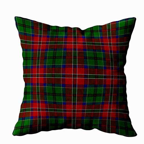 EMMTEEY Home Decor Throw Pillowcase for Sofa Cushion Cover, Halloween Scottish Clan macculloch Tartan Decorative Square Accent Zippered and Double Sided Printing Pillow Case Covers 20X20Inch