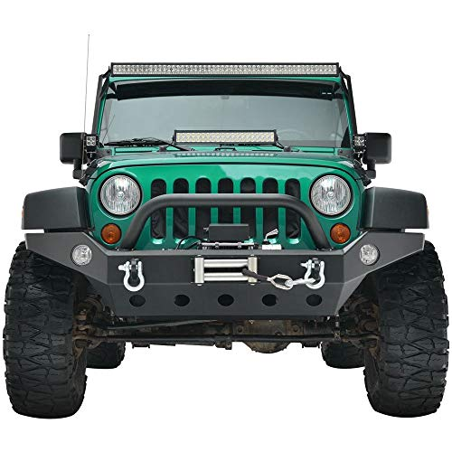 LEDKINGDOMUS Full Width Front Bumper for 07-18 Jeep Wrangler JK and JK Unlimited Rock Crawler With Fog Lights Hole, Winch Plate Black Textured