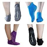 PRETMANNS Pilates Yoga Grip Socks for Women – Non Slip Sticky Barre Yoga Socks – 2 Pairs Medium...