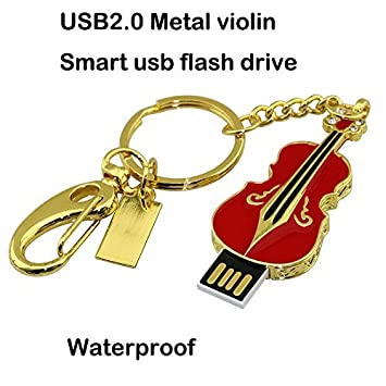 Civetman 16GB Crystal Diamond Violin USB Flash Drive con Llavero, Rojo