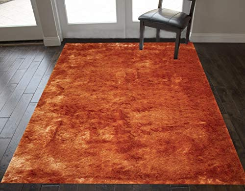5×7 Feet Light Orange Dark Orange Two Tone Colors Solid Plush Pile Shag Shaggy Furry Fuzzy Area Rug Carpet Rug Modern Contemporary Decorative Designer Bedroom Living Room Hand Woven Non Slip Backing