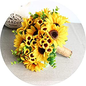 can't be satisfied Artificial Sunflower Yellow Wedding Bouquets for Brides Bouquet De Fleur Mariage Wedding Flowers 100