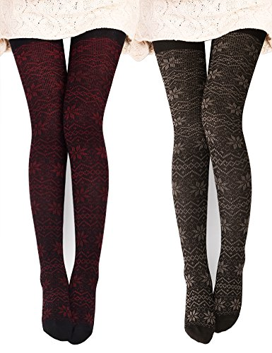 DELUXSEY 2 Pairs Womens Snowflake Knitted Patterned Tights (Red + Brown) 61731 (Leggings Wool Cotton)