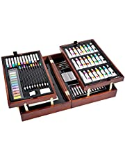 Vigorfun Deluxe Art Set in Wooden Case, with Soft & Oil Pastels, Acrylic & Watercolor Paints, Water Color, Sketching, Charcoal & Colored Pencils, Watercolor Cakes and Tools