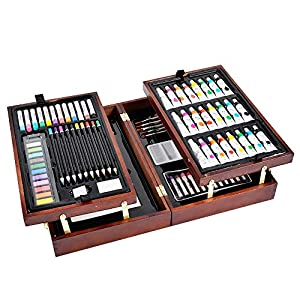 Vigorfun Deluxe Art Set in Wooden Case, with Soft & Oil Pastels, Acrylic & Watercolor Paints, Water Color, Sketching, Charcoal & Colored Pencils, Watercolor Cakes and Tools (Wooden)