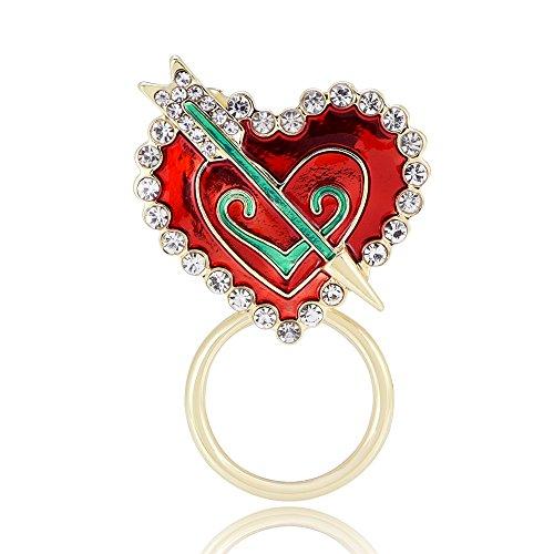 GUANDU Cupid's Arrow Pierced Regular Crystal Heart Magnetic Brooch Eyeglass Holder (Gold) ()