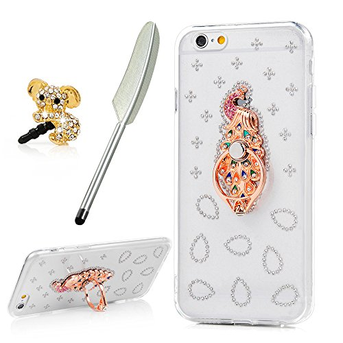YOKIRIN iPhone 6 Case,iPhone 6S Case,Clear Shiny Bling Diamonds Rhinestone Hybrid Shell Soft TPU Frame + PC Plastic Back Ultra Thin Sparkly Cover with Peacock Ring Stand & Dust Plug & Pen