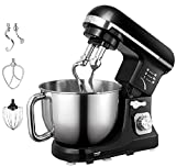 : Aicok Stand Mixer, 500W 6-Speed 5-Quart Stainless Steel Bowl, Tilt-Head Food Mixer Kitchen Electric Mixer with Double Dough Hooks, Whisk, Beater, Pouring Shield, Black