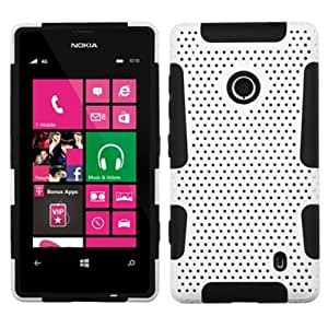 MYBAT APEX Mesh Hybrid Hard Case Gel Cover For Nokia Lumia 521 - Retail Packaging - White Black
