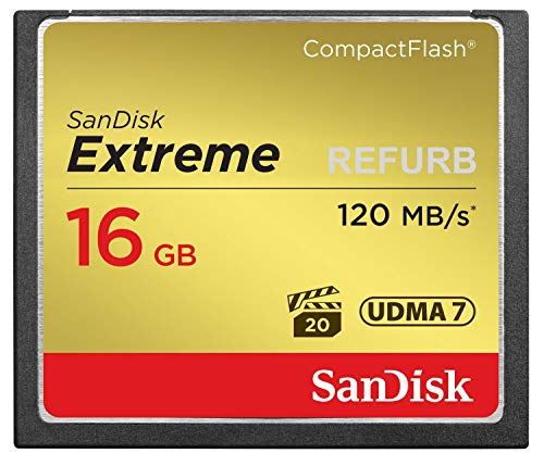 - SanDisk Extreme 16GB CompactFlash Memory Card UDMA 7 Speed Up To 120MB/s-SDCFXS-016G-X46 (Renewed)