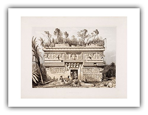 The Ibis Print Gallery - Frederick Catherwood : ''Las Monjas Chichen Itza (Plate 21)'' (Views of Ancient Monuments in Central America, Chiapas and Yucatan, 1844) - Giclee Fine Art Print