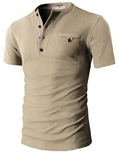 H2H Mens Casual Slim Fit Henley Shirts Short Sleeve With Pocket of Waffle Cotton
